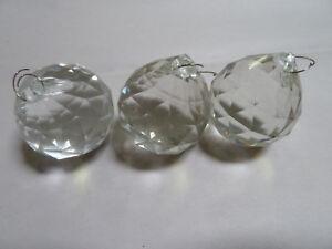3 - Vintage 40 MM Round Faceted Glass Prism Chandelier Lamp