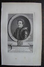 CHARLES SURNOMME LE HARDY DUC DE BOURGOGNE . PORTRAIT, GRAVURE ORIGINALE , 1760