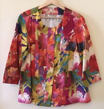 Coldwater Creek Womens 1X Bright Floral Abstract Print Button Front Jacket