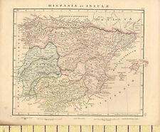 1841 VICTORIAN HAND COLOURED ANCIENT MAP ~ SPAIN ~ HISPANIA
