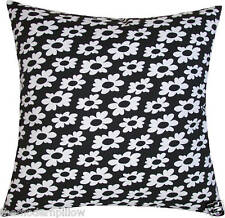 """Black/White Wildflower cotton decorative throw pillow cover/cushion cover 18x18"""""""