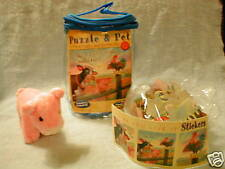 PUZZLE~PET FARMYARD MANAGERIE~PLUSH PIG~STICKERS~FAITH~