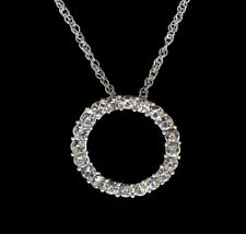 """Brilliant Crystal Circle of Love Eternity Necklace 16""""-18"""" Ajustable New"""