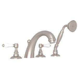 Rohl Country Bath San Julio Deck Mount Tub Filler Stain Nickel w/ Hand Shower