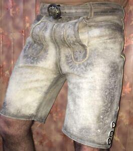 Bayrisch Trachten Lederhose  kurze Lederhose antik braun mit Gürtel Gr, 60 NP79€