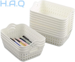 Fosly 12 Set of Mini Basket For Storage, Plastic With Handle