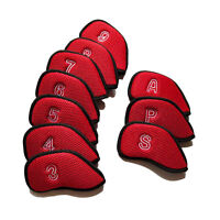 10x Red Meshy Golf Iron Headcovers Iron Club Head Cover Iron Protector 3-9,P,S,A