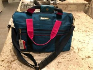 NWOT Vintage AMERICAN TOURISTER Teal/Pink Nylon Carry On Overnight Bag
