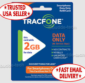 TracFone 2GB Data Only Card QUICK EMAIL DELIVERY PIN # Minutes Smartphones BYOP