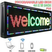 """40"""" X 15"""" LED Scrolling Sign P10 3-Color Programble Outdoor Advertising Board"""