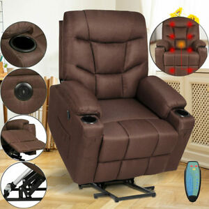 Electric Power Lift Recliner Chair Heat Vibration Massage w/ Control For Elderly