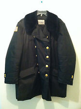 "48R Vintage Blauer men police coat black nylon rain double breast ""fur"" collar"