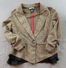 Daytrip Women's Size Small S Leopard Print Ruffle Accent Single Button Blazer D9