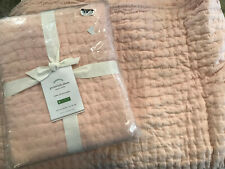 Pottery Barn Pick-Stitch Handcrafted Cotton/Linen Twin Quilt & Sham Soft Rose