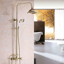 "Gold Finish Bathroom Square8""Rainfall Shower Faucet Set Tub Mixer Tap+Hand Spray"