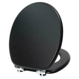 """NEW 18"""" BLACK MDF UNIVERSAL BATHROOM WC TOILET SEAT EASY FIT WOODEN W/C"""