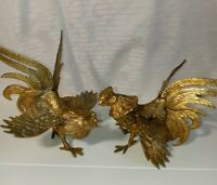 Vintage Pair Brass Fighting Cocks Roosters Sculpture Figures Statues Mid Century
