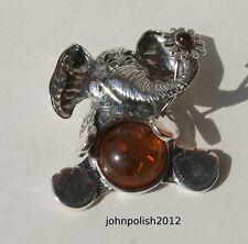ámbar del Báltico bebé Elefante con flor en plata 925