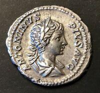 ANCIENT ROMAN CARACALLA SILVER DENARIUS; NICE DETAILS! 198-217 A.D.