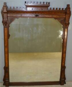 17950 Victorian Burl Walnut Mantle Mirror