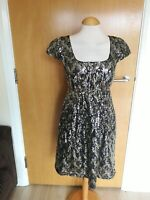 Ladies JESIRE Dress Size 10 Full Sequin Skater Gold Silver Party Evening Wedding