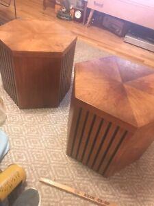 """Lane mid century modern wood 16"""" side table set."""