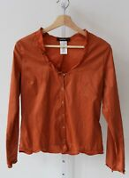 COTELAC Womens Button Front Ruffled V-Neck Long Sleeve Blouse Shirt Orange 2 M L