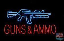"""GUNS AND AMMO Shop Range Man Cave Neon Sign 20""""x16"""" From USA"""