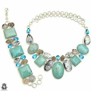 Australian Amazonite Herkimer Diamond Dendritic Opal Necklace Bracelet SET986