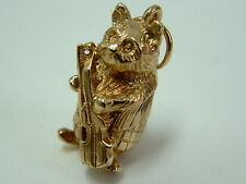 COLLECTORS 9CT GOLD SOLID 1970'S 3D CAT AND THE FIDDLE CHARM/PENDANT