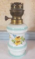 lampe pétrole porcelaine de Paris décor floral bleu19ème oil lamp