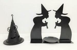 Set of 2 Halloween WITCH Tea CANDLE HOLDERS Black Tin Cut Out & Witch's Hat