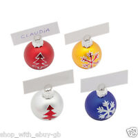 Pack of 4 Bauble Place Card Holders - CHRISTMAS Dinner Table PARTY TABLEWARE