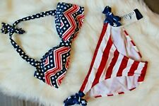 Catalina American Patriotic Flag USA Bikini Swimsuit Set Top & Bottom Medium