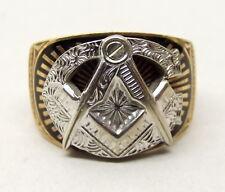 Vtg 10K Gold Masonic Signet Ring Sz 8 Blue Enamel Free Mason Heavy White Yellow