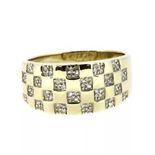 9ct YELLOW GOLD 0.25cts DIAMOND, CHECKER BOARD  MENS SIGNET RING