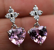 18K White Gold Filled - 7MM Heart Pink Topaz Zircon Wedding Gemstone Earrings