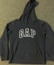 Vtg GAP Spellout Stitched Hoodie M Navy Nautical Sailing USA 90s NYC Hip Hop