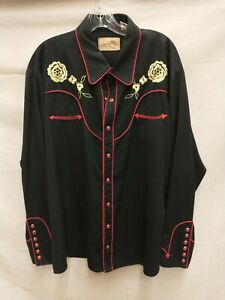 Scully XL Button Down Floral Western Rockabilly Retro Embroidered Shirt P626(BL)