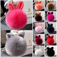 1pc Rabbit Fur Ball PomPom Cell Phone Car Keychain Pendant Handbag Cute Key Ring