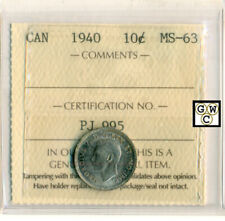 ICCS Canada 1940  10ct Coin ; MS-63 ;Certificate  No.- PJ 995 ;LHM
