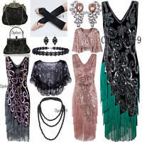Gatsby Flapper 1920s Dresses Beaded Vintage Fringe Sequin Sleeveless Women Party