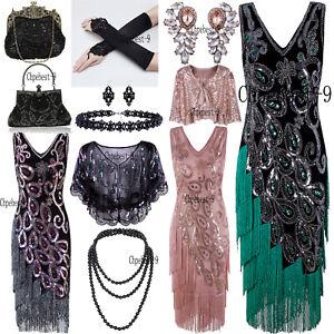 Gatsby Flapper 1920s Dresses Beaded Vintage Fringe Sequin Sleeveless Women Party