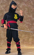 Childrens Black Ninja Fancy Dress Costume Japanese Warrior Outfit 8-10 Yrs