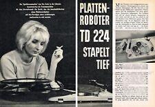 Thorens TD 224 studiomatic placas cambiador-original informe de prueba de 1964