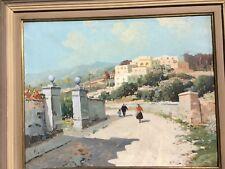 Oil on canvas painting signed Bartoli Galleria Masini label , Italy Med scene