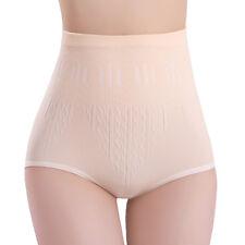 Women Solid High Waist Brief Girdle Body Shaper Slim Tummy Pants Underwear NIUK Apricot