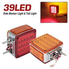 2 Square Stud Mount Truck Pedestal Cab Fender Dual Face 39 LED Turn Signal Light