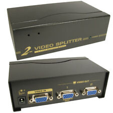 2 Port Way SVGA VGA Splitter Box Boosts Signal too