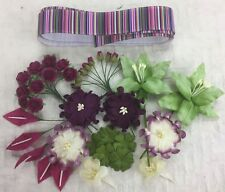 38 Quality FUCHSIA MIX Mulberry Paper Flowers Ass. Sizes & Designs + 1m Ribbon